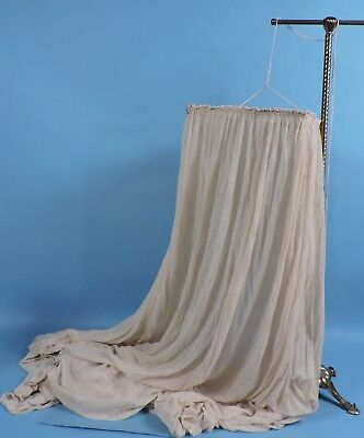Antique Turn Of The Century Off White Muslin Bed Canopy Cover W Wood Frame