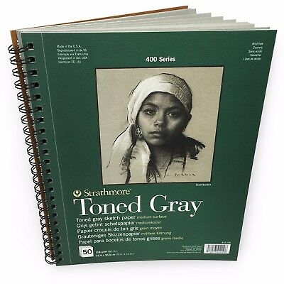 "Strathmore 400 Series Wiro Toned Gray Sketchbook – 50 Sheets – 9 x 12"" – 412 109"