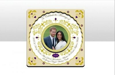 Royal Wedding 2018 - Square Wood Magnet rince Harry & Meghan Markle Collectible