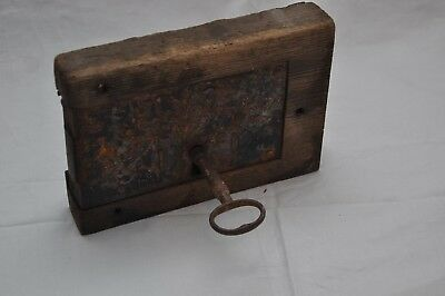 Lovely Large Antique / Vintage Door Lock - Wood & Steel - Fully Working With Key
