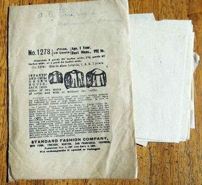 antique STANDARD FASHION CO SEWING PATTERN #1278~INFANT CHILD HOUSE SACK sz 1yr