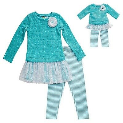 """NEW  Aqua Girls Dollie & Me & Matching Doll outfit fits 18"""" American Girl Size 7"""