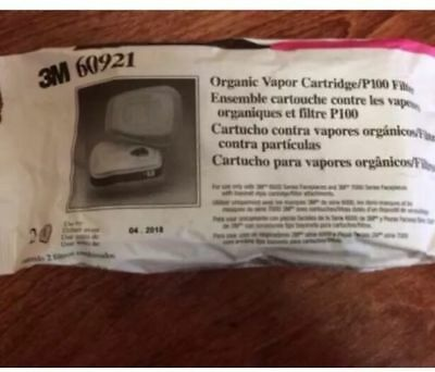 3M 60921  Organic Vapor Cartridges P100 Respirator 1 Pack  2 Filters