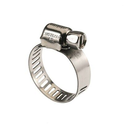 Hose Clamp 18 - 38mm x 10pc Full Stainless Steel,  Perforated Band, Tridon Brand