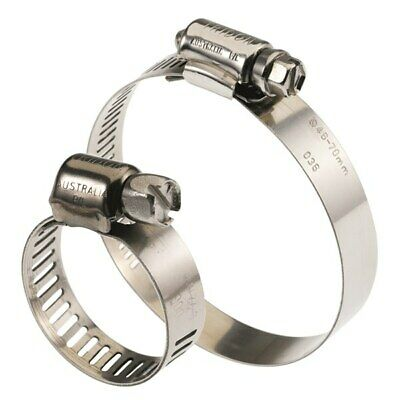 Hose Clamp 22 - 45mm x 10pc Full Stainless Steel,  Perforated Band, Tridon Brand