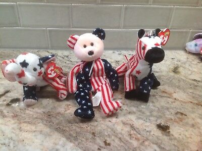 TY Patriotic Beanie Babies - set of 3 Lefty, Righty and Spangle w/ Hang Tags NEW