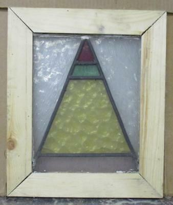 "OLD ENGLISH LEADED STAINED GLASS WINDOW Multi-Colored Triangle 11"" x 13"""