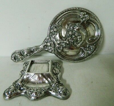Antique Art Nouveau Sterling Silverplate Hand Mirror & Perfume/Inkwell? Stand