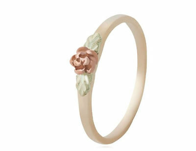 Black Hills Gold ring rose flower womens 10k yellow gold