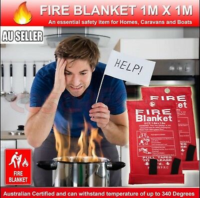 Australian FIRE BLANKET 1 X 1 M Emergency Action Certified up to 340 Degree