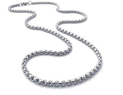 4mm Women Men Chain Round Box Link Silver Tone Stainless Steel Necklace 22''