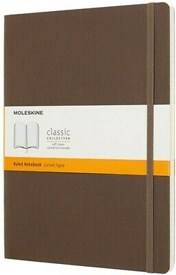 Moleskine Classic Notebook, Extra Large, Ruled, Brown Earth, SoftCover (7.5 x 9.