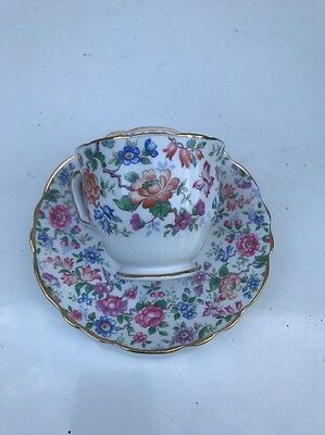 Crown Staffordshire Pedestal Tea Cup And Saucer - Asian Style Chintz Floral