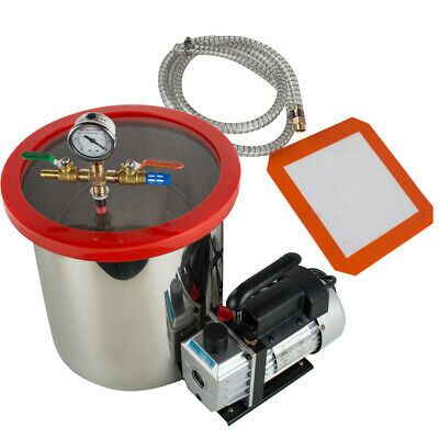 5Gallon 21L Vacuum Degassing Chamber Silicone Kit w/ 3CFM Pump Hose Canada & USA