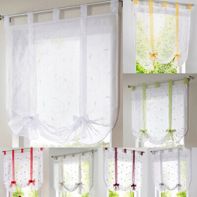 Embroidery Roman Curtains Sheer Window Drapes Panels Shade VARIOUS SIZE& PATTERN