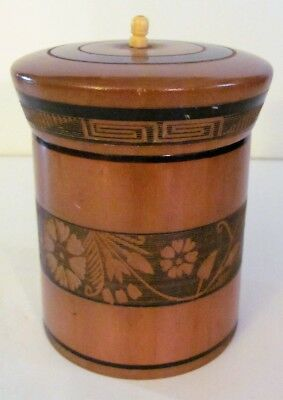"VTG Tropical Wood Tobacco Tea Canister Lid Trinket Box Etched Design 4 1/2"" tall"
