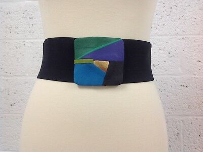 Vintage Women's Black Stretch Belt w/Multi-Colored Contemporary Style Buckle