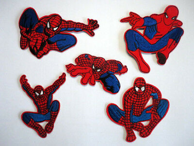 5 Spiderman Embroidered Iron Sew On Patch Fancy Dress Costume T Shirt Bag Badge
