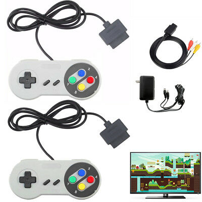 AC Adapter Power Cord + AV Video Cable + 2x Controllers for Super Nintendo SNES
