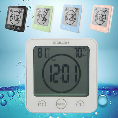 Digital Wall Clock Shower Hygrometer Waterproof Suction Timer Humidity Bathroom