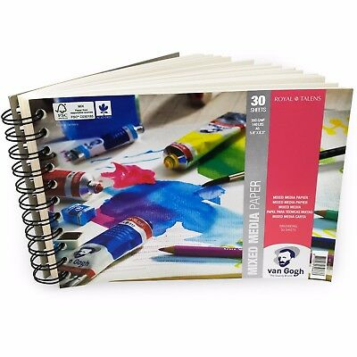 Royal Talens – Van Gogh A5 Wiro Mixed Media Paper Pad – 30 Sheets – 300gsm