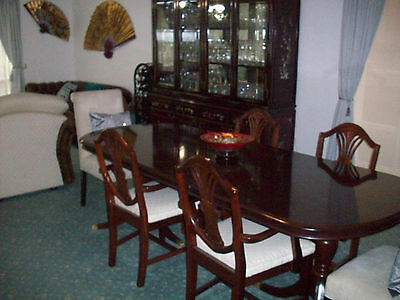 Antique Hepplewhite Dining Table and 6 chairs with extension leaf cream chairs