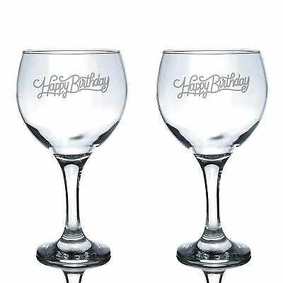 2x 645ml Engraved Spanish Gin Balloon Glasses - Happy Birthday Gift For Him Her