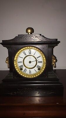 "Antique Ansonia Lion Head Mantel Clock ""AS IS"""