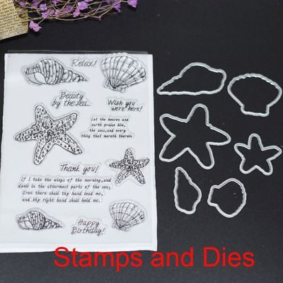 Charm Shell Starfish Clear Stamp Cutting Die Stencil Scrapbook Embossing Crafts