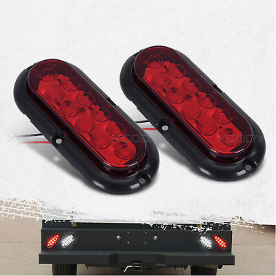 2pcs Set Trailer Truck LED Sealed RED Oval Stop/Turn/Tail Red Light Waterproof