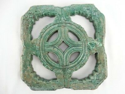 RARE Antique 19thC Qing Dynasty Chinese Jade Green Temple Breezeway Tile  (a)