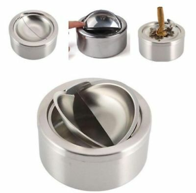 Round Stainless Steel Cigarette Lidded Ashtray Silver With Windproof Lid Cover ♫