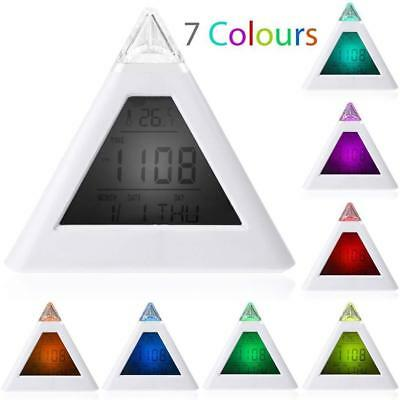 7 Color Change Triangle Pyramid Clock Time LED Alarm Digital LCD Thermometer Bed