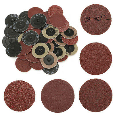 40pcs 2'' 50mm Mix 40 80 120 240Grit Roll Lock Sanding Discs Type R Roloc Z