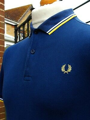 Fred Perry Medieval Blue/Sorbet/White Twin Tipped Polo - S - Mod Ska Scooter