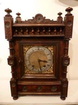 German oak ting tang striking bracket clock