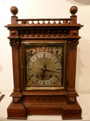 Quality German oak ting tang striking bracket clock