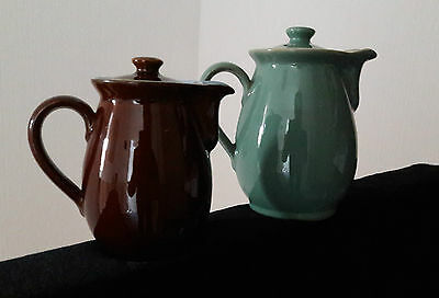 Denby brown and green Coffee Pot or Hot Water Jugs with Lids or use as a VASE