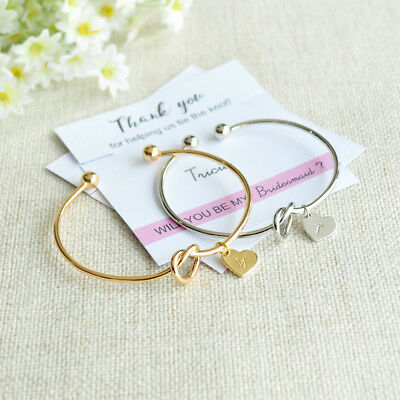 Personalized Initials Knot Bracelet Bridesmaid Gift Wedding Invitation Card