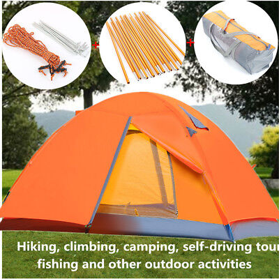 2 Person Double Layer Instant Pop Up Large Camping Tent Outdoor Shelter Tent 1'
