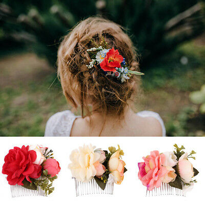 Wedding Bridal Rose Flower Barrette Hair Pins Clips Bridesmaid Side Comb Jewelry
