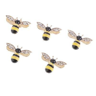 5x Bee Shape Alloy Crystal Embellishment for Crafts Wedding Decoration 25mm