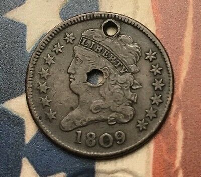 1809 Classic Head Half Cent Vintage US Copper Coin #BE31 Sharp Better Date