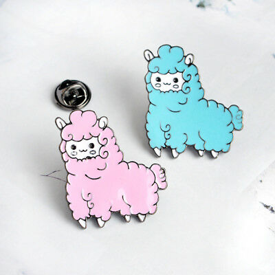 Animal Sheep Alpaca Enamel Lapel Pin Brooch Badge Shirt Collar Pins Blue/Pink US