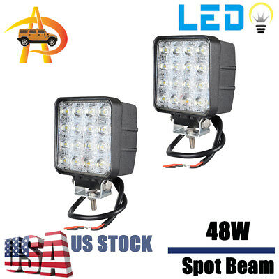 2X 48W SPOT LED Off road Work Light Lamp 12V 24V car boat Truck Driving UTE