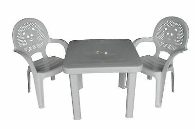 Childrens Armchair Resol Mini Plastic White Teddy Bear x2 and White Square Table