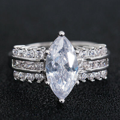 Gorgeous Marquise Cut White Sapphire 925 Silver Engagement Party Ring Size 6-10