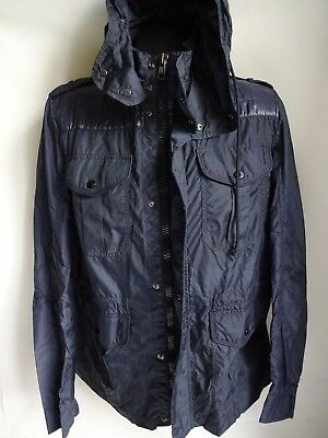"MONCLER Mens Navy Hooded Lightweight / Shell Jacket Size 4 (22"" pit to pit)"