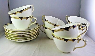 7 Coalport English China 6486 Cup & Saucer Sets Blue, Gold Rings, Scalloped