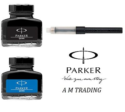 PARKER QUINK BLUE & BLACK FOUNTAIN INKPOT BOTTLE 30ml & CONVERTER